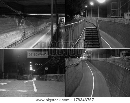 CCTV surveillance camera of a subway underpass in black and white