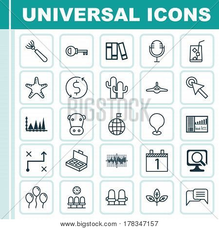 Set Of 25 Universal Editable Icons. Can Be Used For Web, Mobile And App Design. Includes Elements Such As Lemon Juice, Kine, Online Chatting And More.