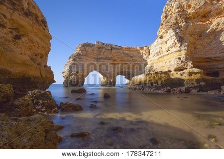 Long exposure at the cliffs near Marinha beach, Lagoa - Algarve Portugal