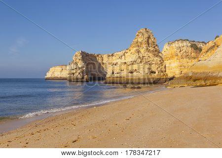 Marinha beach at sunrise, Algarve Portugal