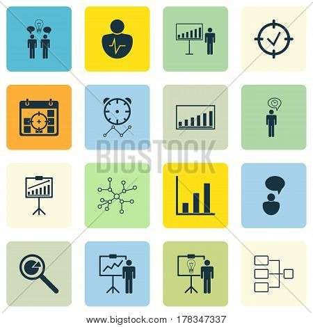 Set Of 16 Executive Icons. Includes Co-Working, Reminder, Approved Target And Other Symbols. Beautiful Design Elements.