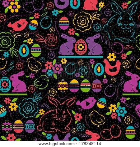 Seamless pattern with color easter eggs rabbit flowers and chicks. Ideal for printing onto fabric and paper or scrap booking vector illustration