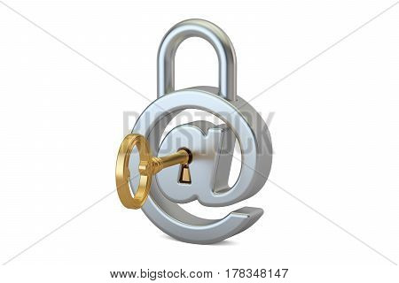 E-mail protection concept with padlock and key 3D rendering
