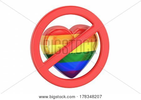 Heart with rainbow gay flag in forbidden sign 3D rendering