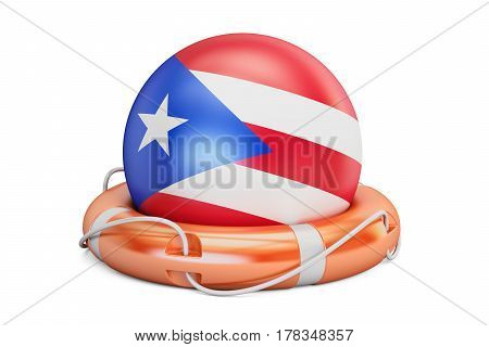 Lifebelt with Puerto Rico flag safe help and protect concept. 3D rendering