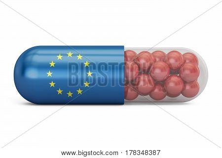 Pill capsule with EU flag. European Union health care concept 3D rendering