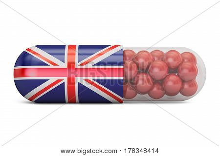 Pill capsule with Great Britain flag. UK health care concept 3D rendering
