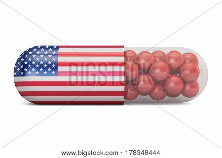 Pill capsule with USA flag. US Health care concept 3D rendering