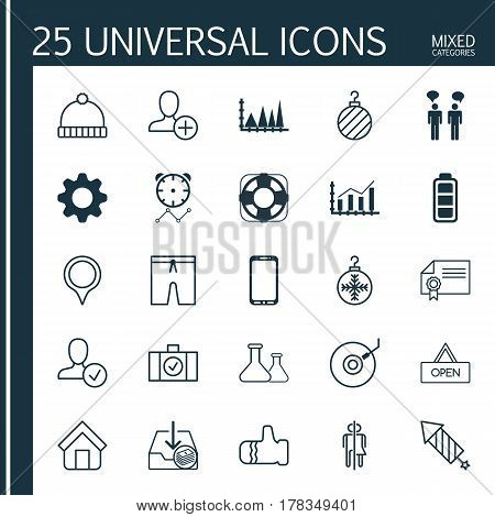 Set Of 25 Universal Editable Icons. Can Be Used For Web, Mobile And App Design. Includes Elements Such As Reminder, Board, Settings And More.