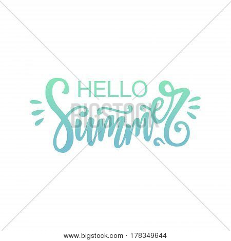 Hello Summer hand drawn lettering. Vector Hello summer card.