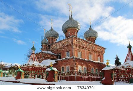 View of the Resurrection Church on the Debra on a sunny winter day. Kostroma Russia.