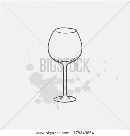 red wine glass hand drawn icon - vector illustration