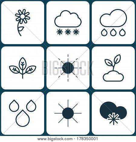 Set Of 9 World Icons. Includes Snowstorm, Sun, Rain And Other Symbols. Beautiful Design Elements.
