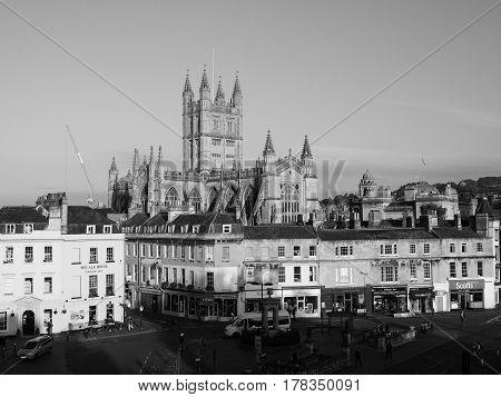 Bath Abbey In Bath In Black And White