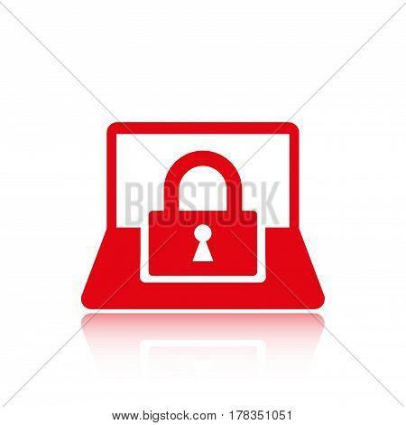 laptop lock icon stock vector illustration flat design