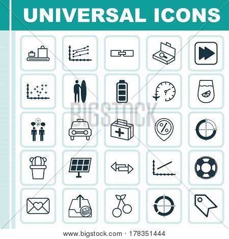 Set Of 25 Universal Editable Icons. Can Be Used For Web, Mobile And App Design. Includes Elements Such As Lifebuoy, Increase Graph, Surf-Board And More.