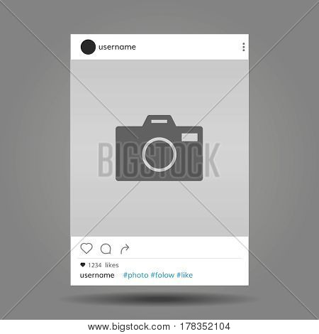 Social network post frame with user name and photo camera