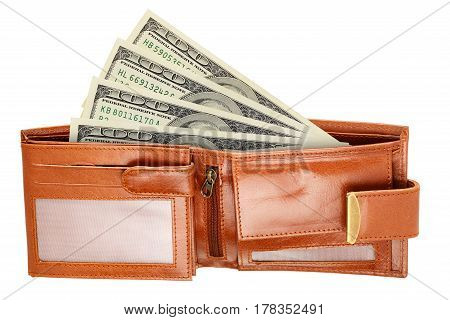 Leather wallet with hundred US dollar bills isolated on white background