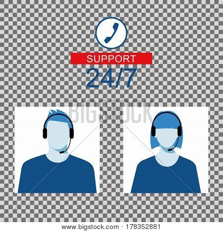 icon of a man and a woman with a headset from the Technical Support. Men and women avatar for call center.
