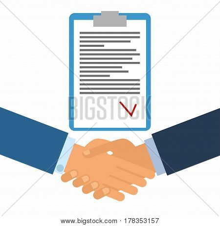Signing of a contract. Business handshake for deal and teamwork concept. the international cooperation. shaking hands on a white background  vector illustration