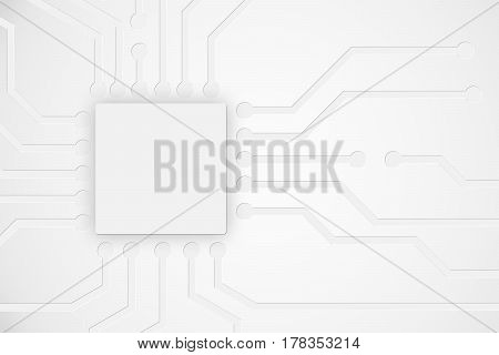 Modern abstract technology background with electronics circuit board chip layout elements and copy space