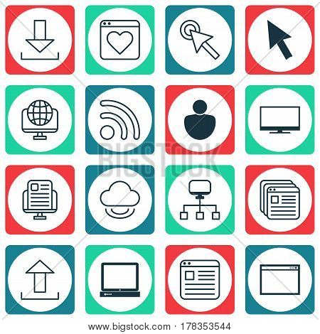 Set Of 16 World Wide Web Icons. Includes Blog Page, Wifi, Virtual Storage And Other Symbols. Beautiful Design Elements.
