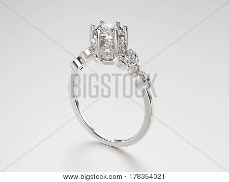 3D illustration silver ring with diamonds on a grey background