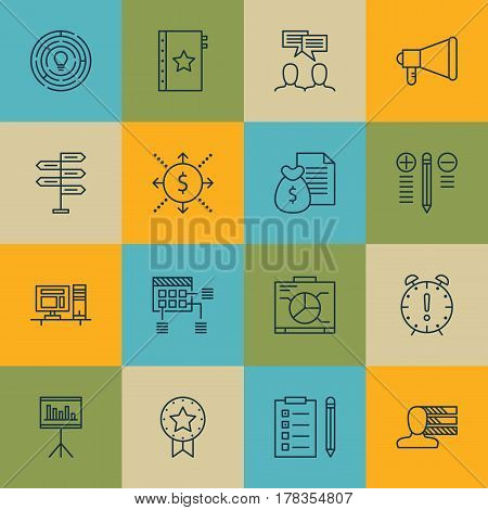 Set Of 16 Project Management Icons. Includes Board, Report, Money And Other Symbols. Beautiful Design Elements.