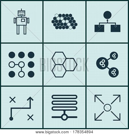 Set Of 9 Robotics Icons. Includes Branching Program, Analysis Diagram, Computing Problems And Other Symbols. Beautiful Design Elements.
