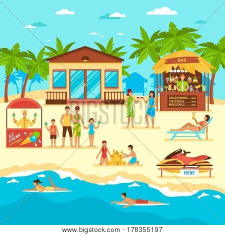 Beach with people bar and stall with icecream rent of water motorbike flat style vector illustration