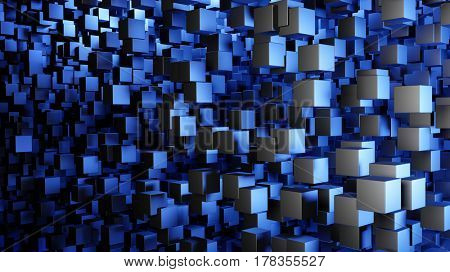 Abstract modern background with a swarm of flying cubes in blue light. 3d illustration.
