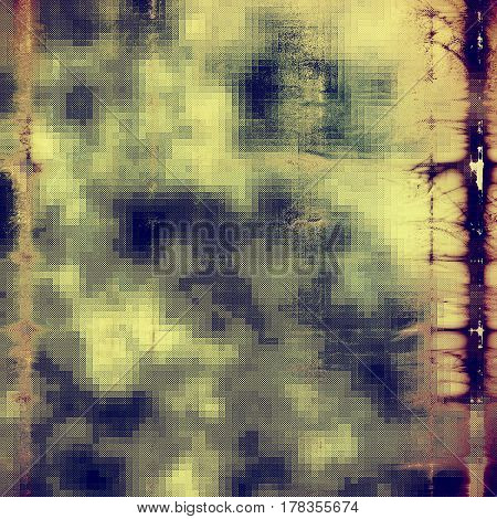 Grunge design composition over ancient vintage texture. Creative background with different color patterns: yellow (beige); brown; blue; gray; purple (violet)