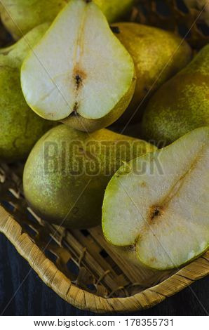 Fresh ripe pears on a close-up table