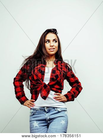 young pretty stylish hipster girl posing emotional isolated on white background happy smiling cool smile, lifestyle people concept close up