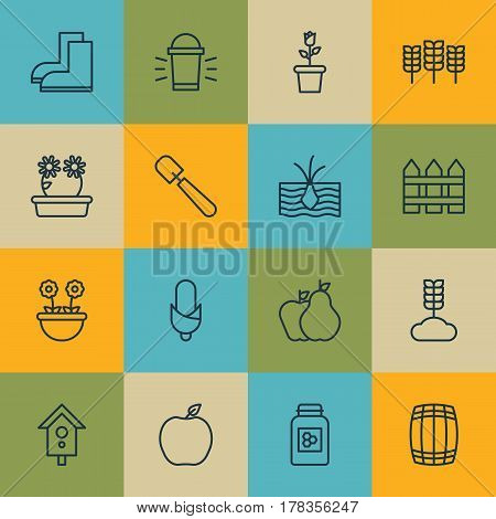 Set Of 16 Garden Icons. Includes Nectarine, Jar, Gardening Shoes And Other Symbols. Beautiful Design Elements.