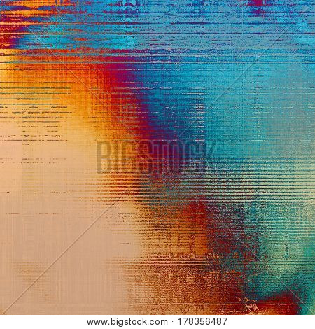 Abstract grunge background with retro design elements and different color patterns: yellow (beige); blue; gray; red (orange); purple (violet); cyan