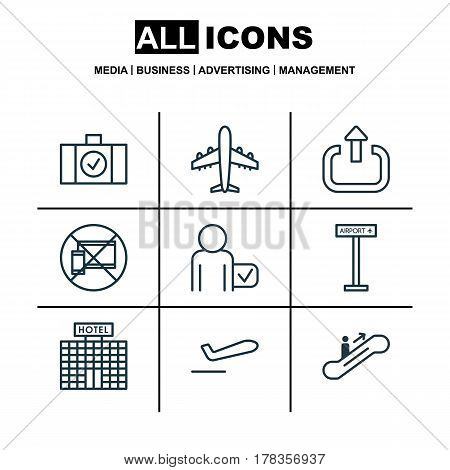 Set Of 9 Travel Icons. Includes Globetrotter, Exit, Airliner Takeoff And Other Symbols. Beautiful Design Elements.
