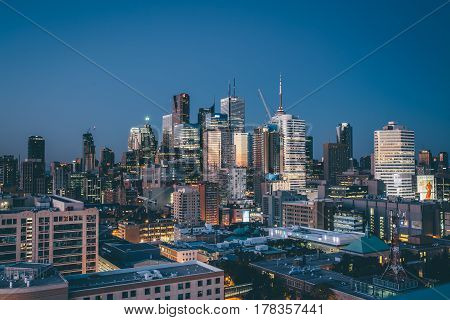 Toronto, Ontario, Canada - Toronto City skyline illuminated by the breaking sunrise