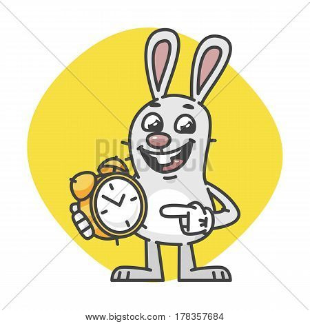 Rabbit Smiling Indicates On Alarm Clock