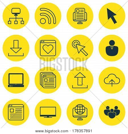 Set Of 16 Web Icons. Includes PC, Mouse, Cursor Tap And Other Symbols. Beautiful Design Elements.