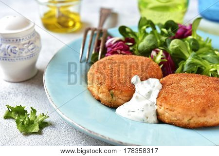 Salmon patties  with mix leaves salad .