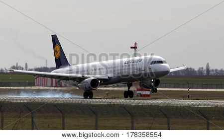 Kiev, Ukraine - March 25, 2017: Lufthansa Airbus A321-200 aircraft landing on the runway to Borispol International Airport on March 25, 2017. Editorial use only