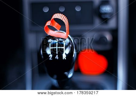 manual gearbox in the car with heart