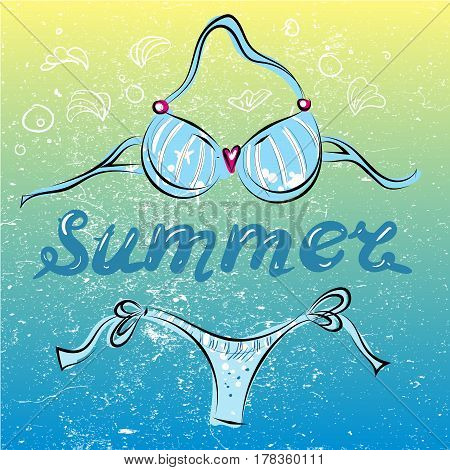 Bikini swimming suit on summer beach vector illustration art
