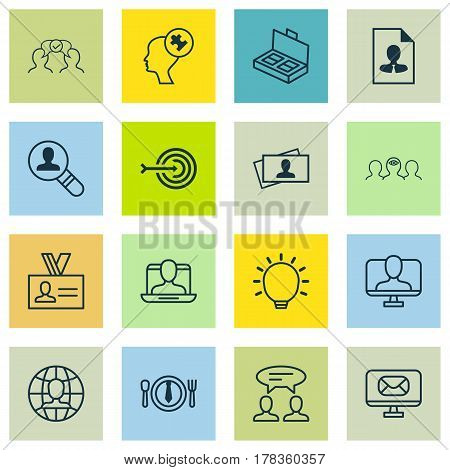 Set Of 16 Business Management Icons. Includes Cooperation, Arrow, Great Glimpse And Other Symbols. Beautiful Design Elements.