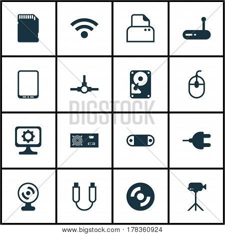 Set Of 16 Computer Hardware Icons. Includes Power Generator, Camcorder, Memory Card And Other Symbols. Beautiful Design Elements.