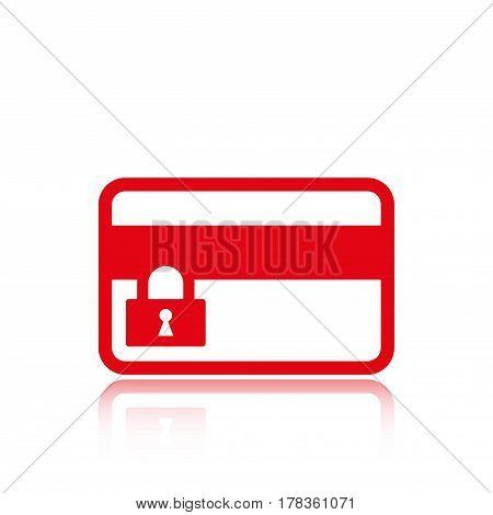 card credit lock icon stock vector illustration flat design