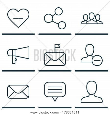 Set Of 9 Social Network Icons. Includes Remove User, Unfollow Icon, Web Profile And Other Symbols. Beautiful Design Elements.
