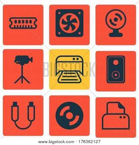 Set Of 9 Computer Hardware Icons. Includes File Scanner, Computer Ventilation, Web Camera And Other Symbols. Beautiful Design Elements.
