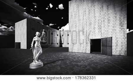 Prison bars and a hallway with Lady of Justice 3d rendering